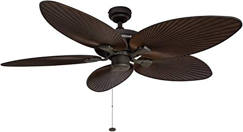 Honeywell Palm Island 52-Inch Tropical Ceiling Fan, Five Palm Leaf Blades, Indoor/Outdoor, Damp Rated, Bronze from Honeywell Ceiling Fans