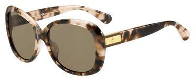 Kate Spade Women's Judyann/p/s Polarized Oval Sunglasses, Pink Havana/Bronze Polarized, 56 mm