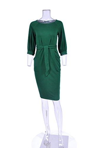 Ceinture Robe Crayon Vert Vtements Lanterne au Les Femmes Longwu Manches Courtes Occasionnel lgant Travail manchon P8TqwTRaA