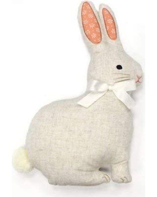 Celebrate Easter Beige Linen Bunny Rabbit Shaped Decorative Throw Pillow [並行輸入品] B07RCF4T7X