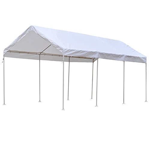 Snail 10 x 20-Feet Waterproof Carport 8 Steel Leg Outdoor UV Protected Large Portable Storage Shelter Sports Wedding Canopy Tent with Anchor Kit, White - Frame Wedding Canopy