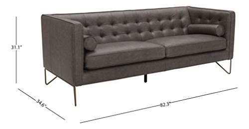 Living Room Amazon Brand – Rivet Brooke Contemporary Mid-Century Modern Tufted Leather Sofa Couch, 82″W, Grey modern sofas and couches
