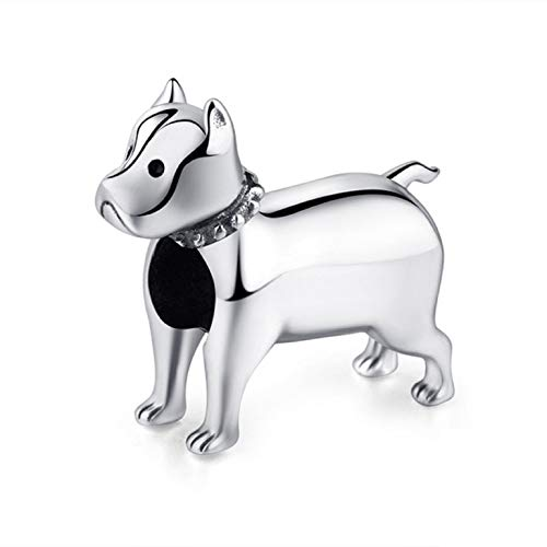 EVESCITY Adorable Many Style Sterling Silver Beads for Charm Bracelets ♥ Best Jewelry Gifts ♥ (American Pit Bull Terrier Pitbull Bulldog Breed) (Pandora Terrier Charm)