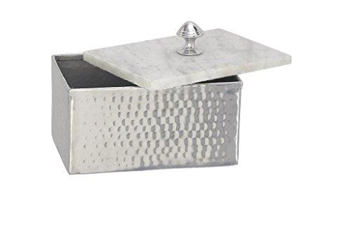 "Deco 79 49685 Aluminium Marble Rectangle Box, 7"" by 6"""