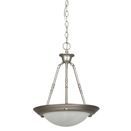 Sunset Lighting F7676-53 Pendant with Faux Alabaster Glass, Satin Nickel - Faux Alabaster