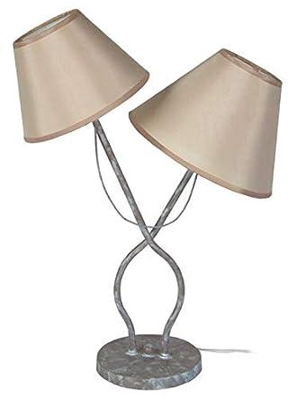 Provençale Et 27x25x49 Acier Lampe Poser A BlancAmazon Taupe Cm vn8OmwN0