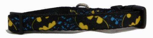 Batman Bat Signal Diagonal Little Dog or Cat Collar 1/2 Inch Width x 9-13 Inches