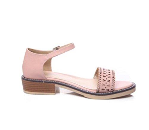 Verano Toe De Dew Pink Permeabilidad Xie Señoras Dulce Estudiantes 36 Las Ocio 35 5cm Hebilla 5 Cinturón Sandalias Confortable nqfppwSvI