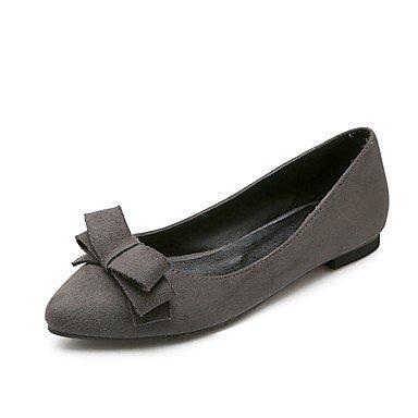 Cómodo y elegante soporte de zapatos de las mujeres pisos primavera verano otoño otros comodidad forro polar oficina y carrera vestido casual fiesta y noche soporte de tacón con lazo negro gris Borgoñ gris