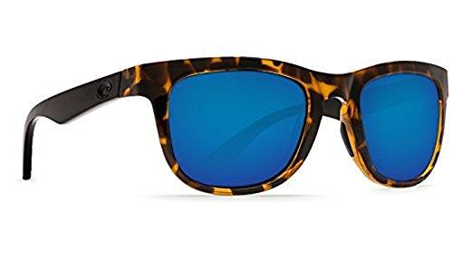 Costa Copra Sunglasses Shiny Retro Tort with Black Temples Blue Mirror