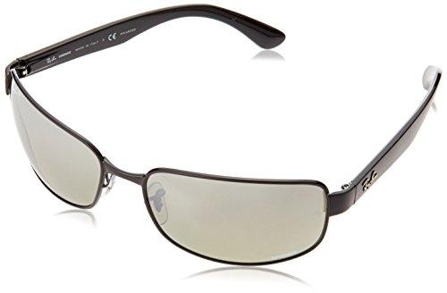 (Ray-Ban Men's RB3566CH Chromance Mirrored Rectangular Sunglasses, Shiny Black/Polarized Silver Gradient Mirror, 65 mm)