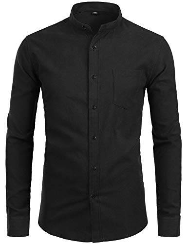 ZEROYAA Men's Hipster Banded Collar Solid Slim Fit Long Sleeve Oxford Dress Shirts with Pocket Z112 Black Medium