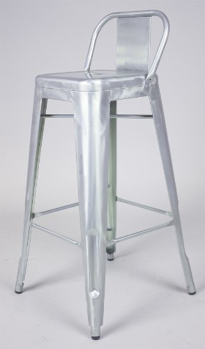 Marais French Industrial Style Low Back Bar Stool in Brush Galvanized Finish