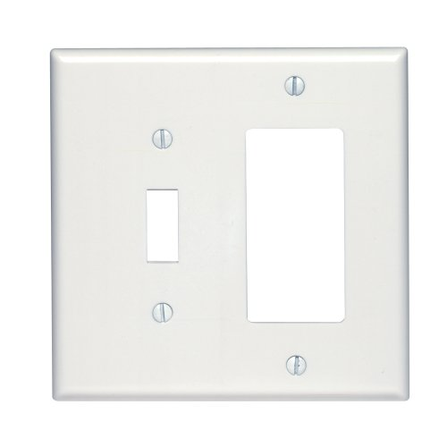 Plates 2 Wall (Leviton 80605-W Midway Size Thermoset Device Mount 2-Gang 1-Toggle 1-Decora/GFCI Device Combination Wallplate, White)