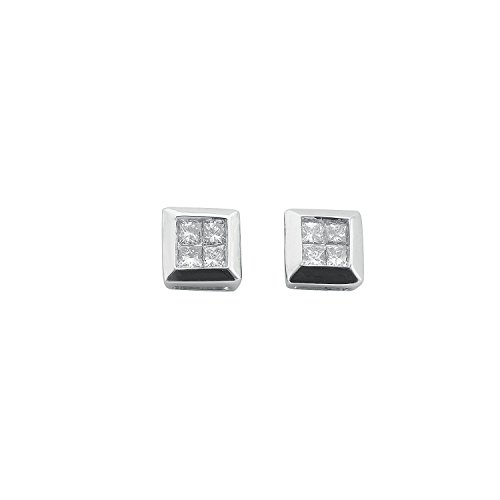 Jareeya - Carré Boucles d'oreille à tige, Or blanc 9 ct, 0.25 CT Coupe Princesse Diamant