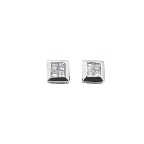 Jareeya-Carré Boucles d'oreille à tige, Or blanc 9ct, 0.25CT Coupe Princesse Diamant