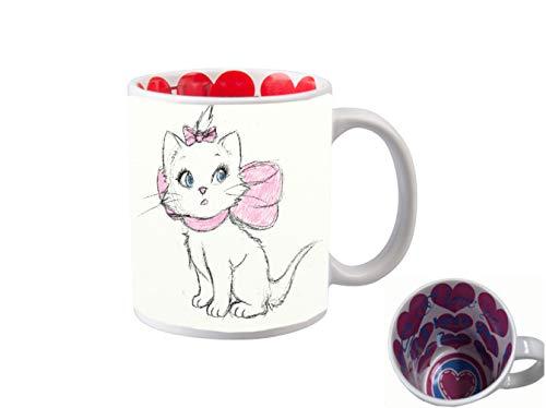 I LOVE YOU INSIDE PRINT 11 ounce Ceramic Coffee Mug Tea Cup/Aristocat Drawn Cute Disney Sketch Printed Design