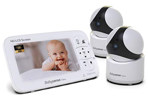 "Babysense Video Baby Monitor - 720P HD Infant Monitor with Two PTZ Security Cameras & Large 5"" Display - Two-Way Talk-Back Audio, Zoom, Long Range, Night Vision, Secure Hack-Free Baby Monitor Camera"
