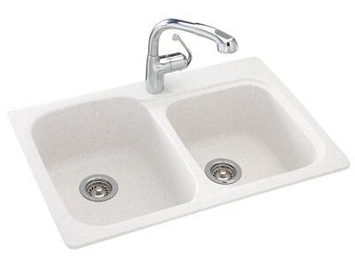 - Swanstone KS03322DB.053 Solid Surface 1-Hole Dual Mount Double-Bowl Kitchen Sink, 33-in L X 22-in H X 9-in H, Tahiti Gray