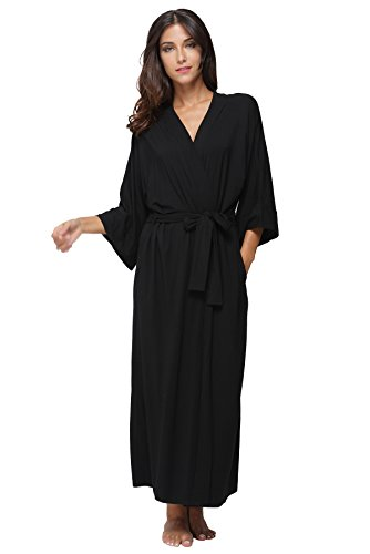 KimonoDeals Women's dept Soft Sleepwear Modal Cotton Wrap Bathrobe Long Kimono Robe, Black L Cotton Extra Long Robe