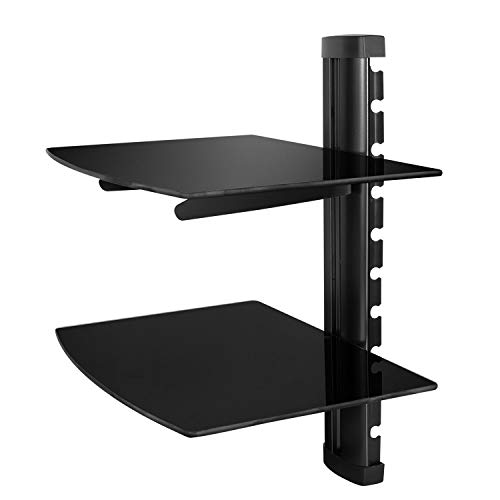 Floating Shelf Wall,Moclever Mount Bracket with Tempered Glass for AV Receiver, Component, Cable Box, Playstation4,Xbox1,VCR Player,Blue Ray DVD Player, Projector, Load Capacity 22.04 lbs,Two Shelves ()