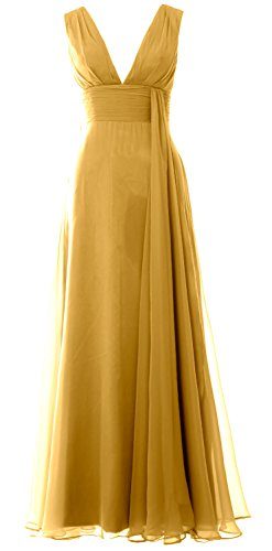 Chiffon Bridesmaid Dress Gown Neck Prom Deep Simple MACloth Long V Women Gold xwqFn0af