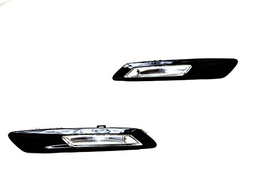 11-13 BMW F10/F11 5-Series 4DR Sedan/Wagon (528i 535i 550i) LED Side Marker Lights - Smoke w/ Gloss Black Trim (2011 2012 2013) (Side Lights Trim)