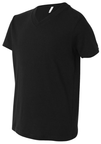 Bella 3005Y Youth Jersey Short Sleeve V-Neck Tee - Black, YL