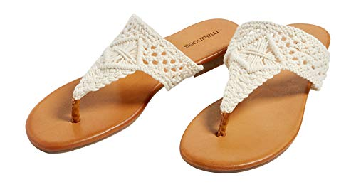 maurices Women's Annie Crocheted Thong Sandals 8 Natural