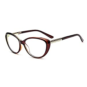 D.King Women Fashion Cat Eyeglasses Frames Clear Lens 56mm Tea