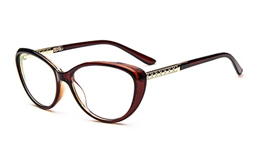 dking women fashion cat eyeglasses frames clear lens 56mm tea