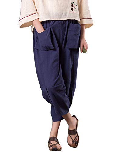 Casual Comodo Zhhlaixing Pants Lino Con Cucitura Lato Lanterna Blu Signore Le Irregolare Pantaloni Tasca Linen Doppio Sciolto Scuro Solido aarwzxY