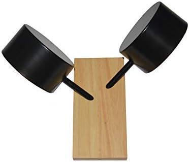 Modern Vintage Industrial Vintage Iluminación de pared, doble tambor Montado en la pared Luz contemporánea Metal 2 bombillas Luminaria de pared para cocina (Negro) Lámpara de Techo Luz Colgante