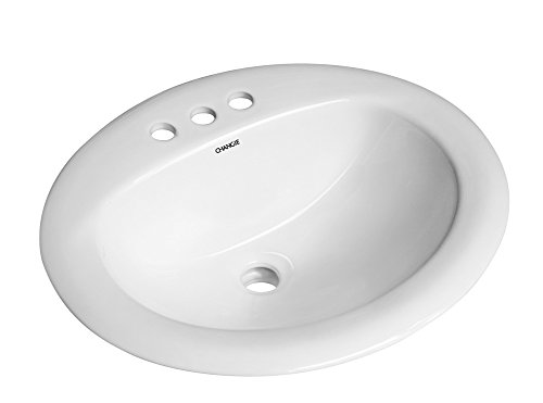 CHANGIE 1011-34W Bathroom Ceramic Drop in Basin Lavatory Sink,White,20x18 inches (Top Sink Lavatory Mount)