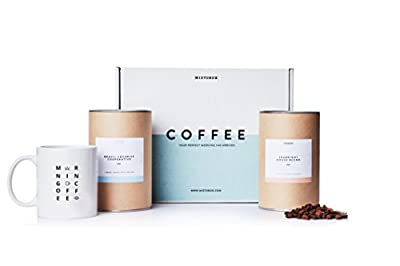 MistoBox Coffee Lovers Artisanal Whole Bean Coffee Beans & Mug Gift Box - Blue
