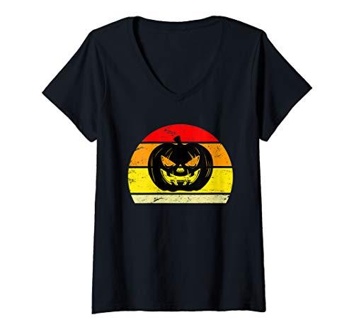 Womens Creepy Horror Halloween Pumpkin Sunset Silhouette   V-Neck T-Shirt]()