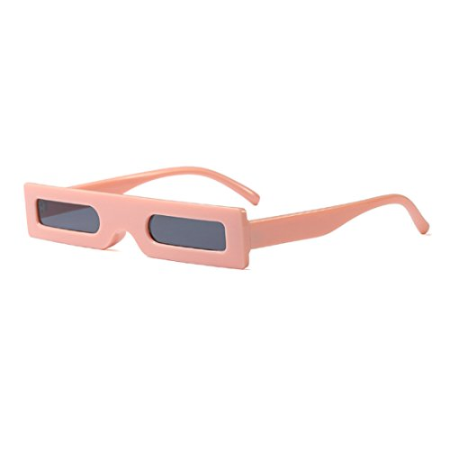 de Fashion Retro Sunglasses Resin Inlefen Small Retro Gafas Square Rosa Gris Frame Resin Slender Lens sol US5awx