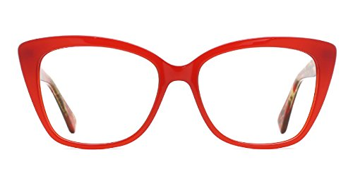TIJN Eye-catching Eyeglasses Red Front Floral Temple for - Eyeglasses Red Womens