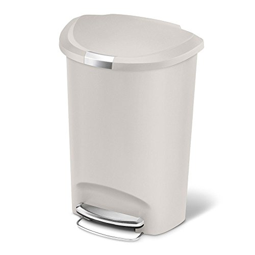 (simplehuman 50 Liter / 13 Gallon Semi-Round Kitchen Step Trash Can, Stone Plastic With Secure Slide Lock)