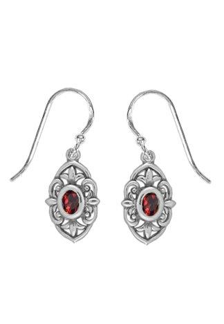 - Boma Jewelry Sterling Silver Baroque Garnet Earrings