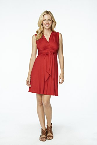 Maternal America Women's Maternity Mini Tie Front Dress, Red, (Maternal America Maternity Sleeveless Top)
