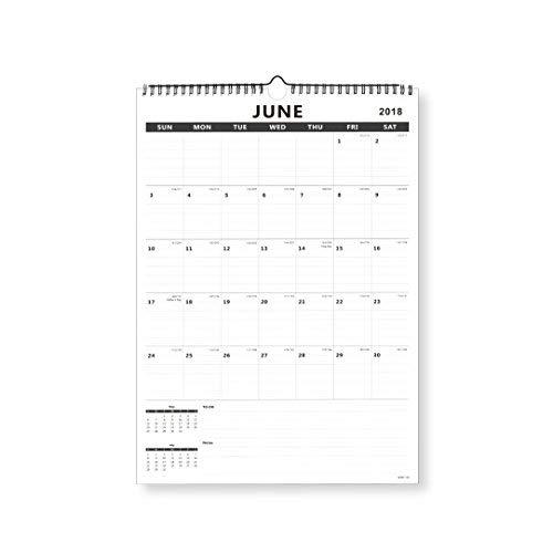 Nekmit Monthly Wall Calendar, January 2019 - December 2019, 17 x 12 Inches, Wirebound, Black