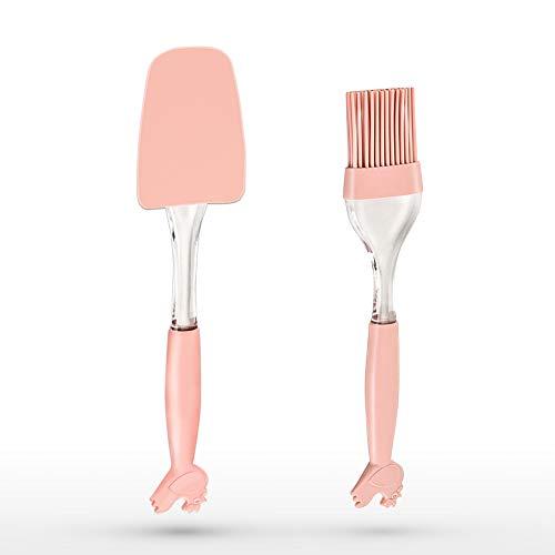 2 Pieces Flexible Silicone Spatula + Basting Brush, Yneedi 600°F Heat-Resistant Spatulas and Pastry Basting Grill bbq Brush Food Grade, Dishwasher Safe, BPA Free,Bristle ()