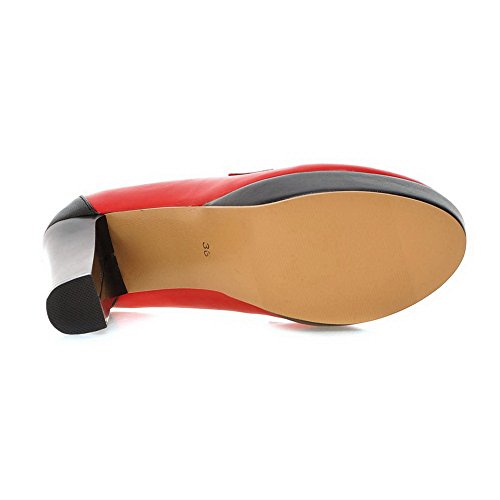 Balamasa Piattaforma Da Donna Tacco Grosso Tinta Coordinata Scarpe Con Tacco Fondo In Pelle Rossa Imitato