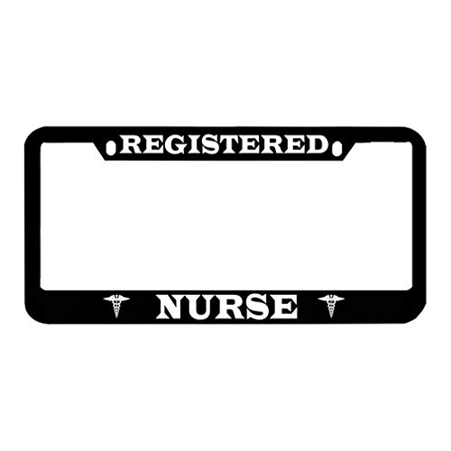 Speedy Pros Registered Nurse Zinc Metal License Plate Frame Car Auto Tag Holder - Black 2 Holes