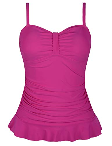 Hilor Women's 50's Retro Ruched Tankini Swimsuit Top with Ruffle Hem Rose Red 18