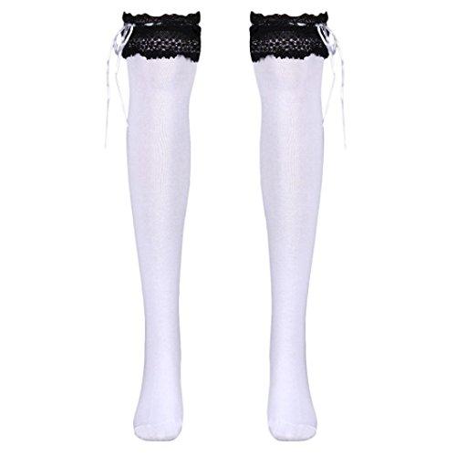 (Voberry Womens Girls Lace Top Thigh High Socks Over Knee Leg Warmer Leggings (White))