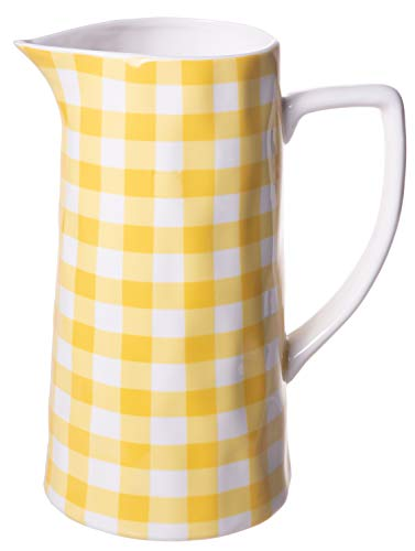 Farmhouse Spouted Handled Casual Country - 64 ounce - Glossy Ceramic Stoneware Pitcher | Yellow Gingham - 64oz.