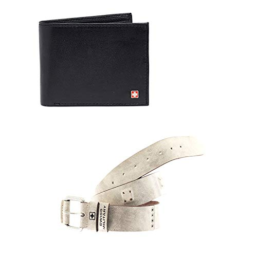 Swiss Military Combo Pack of Leather Wallets & Leather Belts Combo (LW29+BLT3)