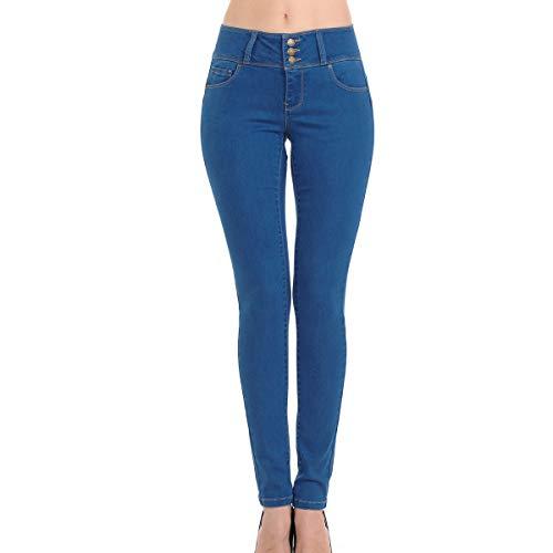 (Wax Women's Juniors Push-Up Super Comfy Stretchy Fit 3 Button Skinny Jean (0, Medium Blue))